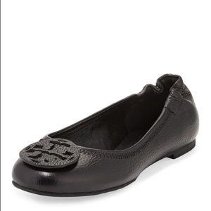 Black Leather Tory Burch Reva Ballet Flats